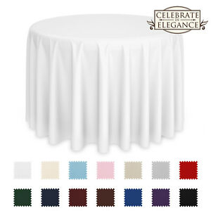 Round Wedding Banquet Polyester Fabric Tablecloth More Sizes amp; Colors