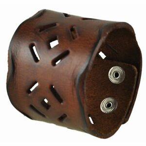 Nemesis Brown Perforated Men's Square Leather Cuff Bracelet