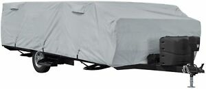 Folding Camping Trailer Cover Outdoor Accessory Travel RV Protection Zipped Grey