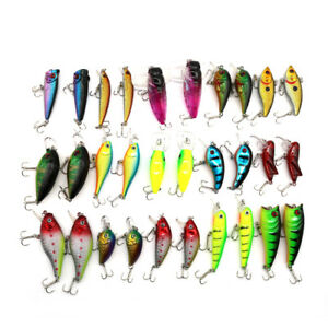 Lot 30pcs Metal Fishing Lures Crankbaits Hooks Bionic Hard Baits Tackle Bass