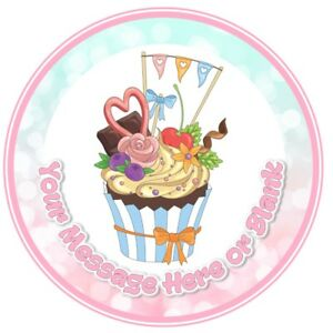 ND2 cupcake birthday personalised round cake topper icing edible