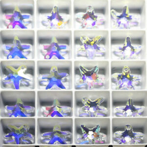 50 100Pcs Mini Starfish Glass Crystal Pendant Charm Jewelry Finding for Necklace $2.58