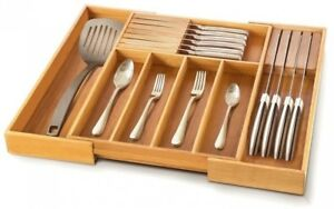 Expandable 7 Compartment Bamboo Flatware Cutlery Utensil Drawer Tray Organizer
