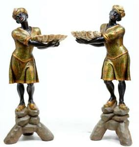 PAIR OF CARVED WOOD AND DECORATED BLACKAMOORS