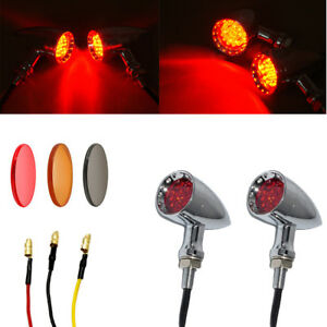 Chrome Motorcycle Bullet LED Turn Signal Red Lights Bulb Lamp Fit Harley Chopper