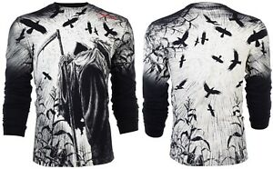 AFFLICTION Mens LONG SLEEVE T-Shirt CORN REAPER Tattoo BLACK Biker UFC $68