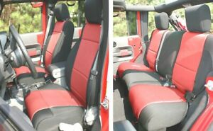 Front & Rear Black/Red Neoprene Seat Covers for Jeep Wrangler JK 2011-18 4 Door