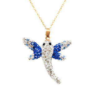 Pori 14k Yellow Gold 3D Dragonfly Pave Crystal Necklace