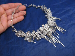 *Statement Floral Crystal Embellished Necklace Silver Tone with Crystal Drops
