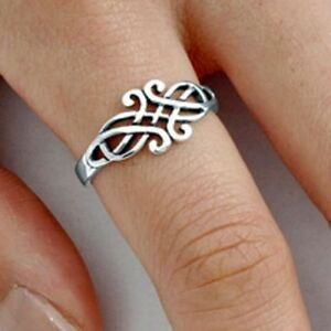 .925 Sterling Silver Ring Celtic Triad Triquetra Ladies size 3-13 Midi Thumb New
