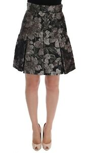 NEW $1800 DOLCE & GABBANA Skirt Black Silver Brocade Floral Above Knees IT36 XS