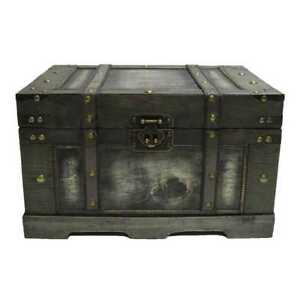 Old Distressed Black Fancy Storage Trunk Vintage Antique Style Chest NEW