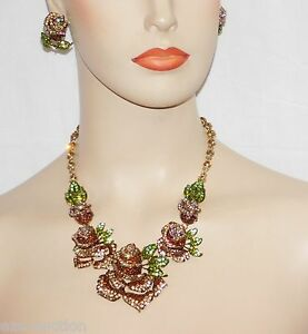 GLAMOROUS 3D GOLD BROWN RHINESTONE CRYSTAL ROSE NECKLACE AND EARRING SET