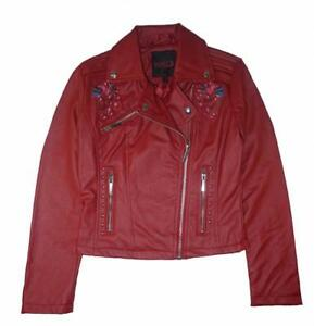 Yoki Girls Red Faux Leather Moto Jacket Size 4 56 6X 7 810 1214 16