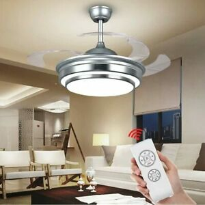 Modern Ceiling Fan Lights Invisible Blades and Remote Contro 3 Color Changes