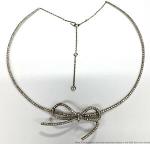 Scarce Vera Wang Platinum Diamond Bow Pendant Designer With Choker Necklace