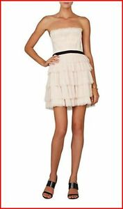 BCBG MAXAZRIA RAYNA VANILLA TIERED SHORT DRESS SIZE 10 NWT $338-RackE107