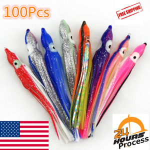 100 Soft Octopus Squid Skirt Trolling Jig Fishing Lure Snapper Salmon Tuna 15cm