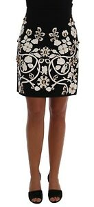 NEW $4200 DOLCE & GABBANA Skirt Black Crystal Floral Pencil s. IT38  US4 XS