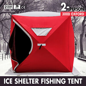 Pop-up 2-person Ice Shelter Fishing Tent Shanty Lightweight w Bag Portable