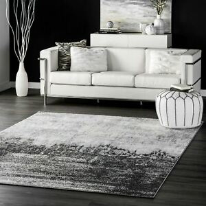 nuLOOM Contemporary Modern Abstract Area Rug in Black Grey Ivory $164.99