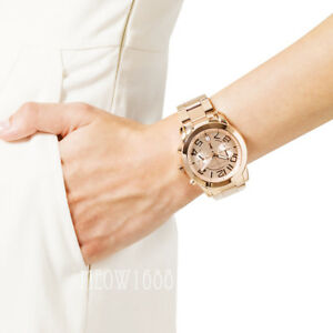New Michael Kors Women Oversize 42mm Rose Gold Mercer Bracelet Watch MK5727 $295