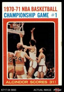 1971 Topps #133 Lew Alcindor - NBA Playoffs Game Bullets (Wizards)  Bucks VGEX