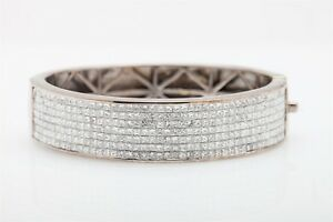 Designer $25000 30ct VS G Princess Cut Diamond 14k White Gold Bangle Bracelet