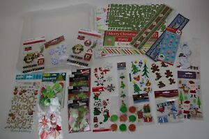 Assorted Christmas Scrapbooking Pages & Lots of Stickers & Plastic Storage Box