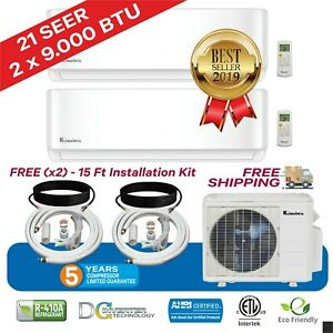 2 Zone Klimaire 21 SEER Ductless Multi Zone Inverter AC Heat Pump 230V 15'Kits
