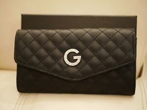 NWT BOX WOMEN'S BLACK LEATHER QUILTED RHINESTONE THORNE  GUESS WALLET VX151951