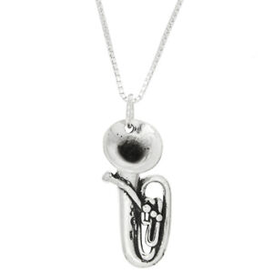 Sterling Silver Tuba Instrument  Charm Necklace -with Options