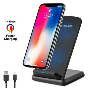 Qi Wireless Fast Charger Charging Pad Stand Dock Galaxy S8 S9 iPhone X 8 XS XR