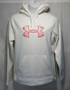 1820 Under Armour Coldgear Tackle Twill Fleece Hoodie Camo Logo XL White NWOT