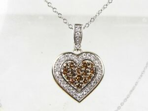 Estate 14k White Gold Diamond Heart Pendant Ladies Necklace 4.6g 15
