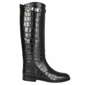 56239 auth HERMES black CROCODILE JUMPING Knee-High Riding Boots Shoes 40