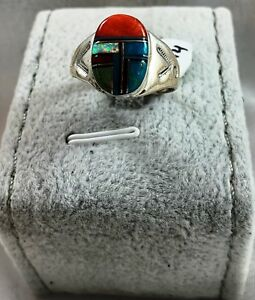 Native American Sterling Silver Turquoise Coral Moonstone Signed Ring