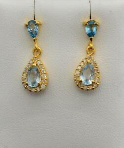 SOLID 14k Yellow Gold 1.62ctw Genuine Blue Topaz & H-SI Diamond Earrings