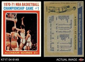 1971 Topps #133 Lew Alcindor - NBA Playoffs Game #1 Bullets (Wizards)  Bucks EX
