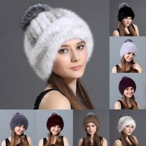 Women Hat Beanies Real Fur Thicken Real Knitted Mink With Fox Fur Pompom Hats N1
