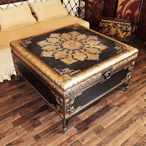 Large Square Carved Coffee Table Handpainted Gold and Silver Trunk Home decor
