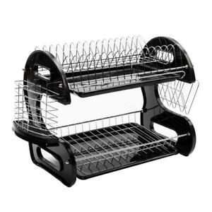 2 Tier Dish Drying Rack Stainless Steel Drainer Kitchen Storage Space Saver NEW