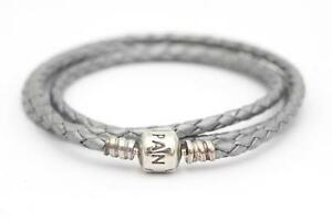 Pandora (590705CSG-T) Sterling Silver Triple Braided Leather 56cm Bracelet NEW