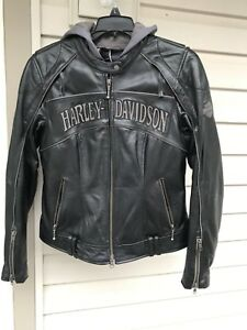 Harley Davidson Reflective Skull Women's Small Leather Jacket 3 in 1 Hoodie