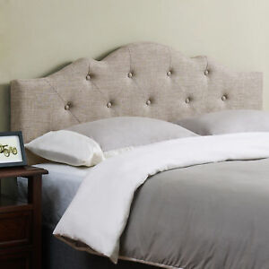 Rounded Upholstered Headboard Padded Cal California Cali King Size Bed Tufted