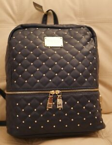 NEW WT BEBE LARGE BACKPACK BOOK BAG PURSE NAVY BLUE QUILTED LEATHER RHINESTONES