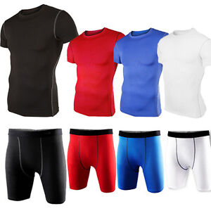 Men Compression Base Under Layer Fitness Sport T-shirt Tank Tee Top Shorts Pants