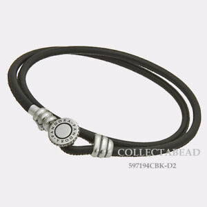 Authentic Pandora Silver Black Double Leather CZ Bracelet 16.1