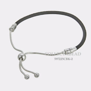 Authentic Pandora Silver Sliding Black Leather CZ Bracelet 11