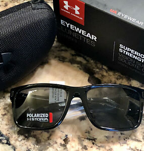 NEW Under Armour Assist Storm Shiny Black Gray Polarized Sports Sunglasses $115